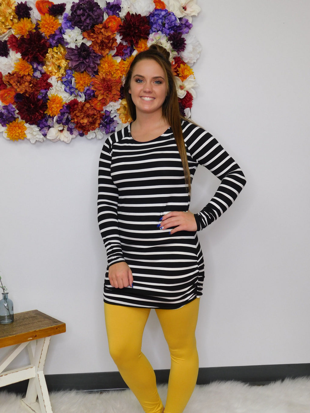 In The Spotlight Striped Tunic With Ruching Details