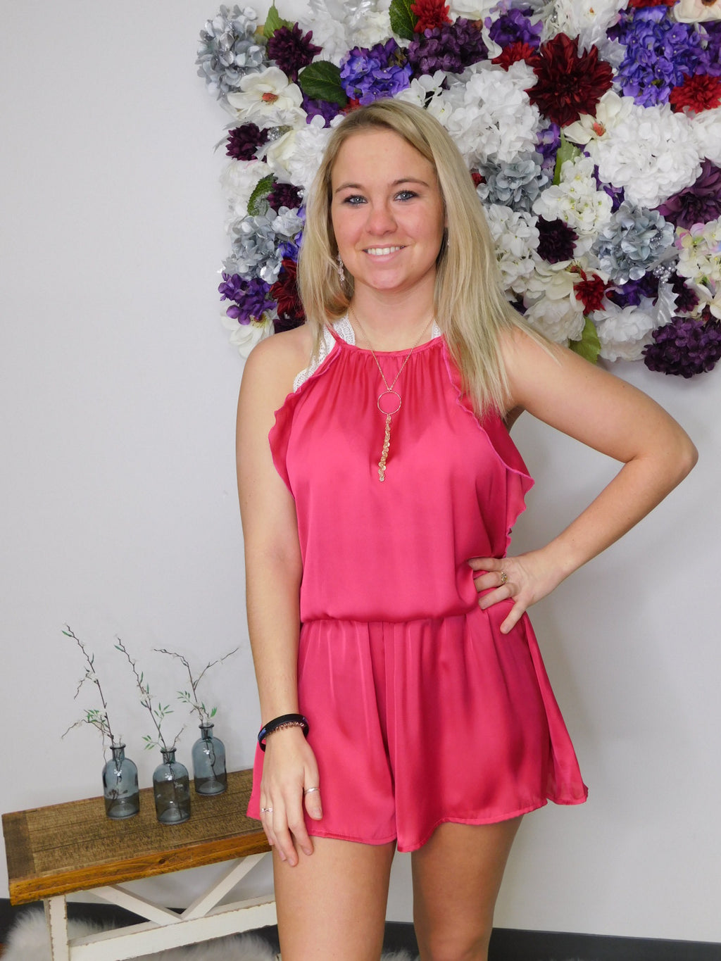 FINAL SALE The Sweetest Day Romper With Gathered Waist and Ruffle Detail