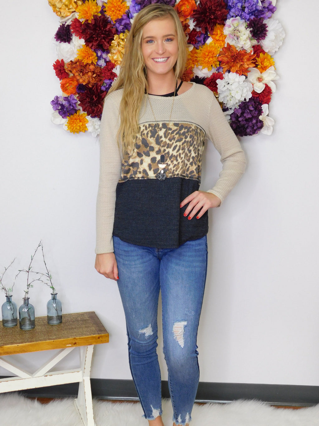 Break From Reality Animal Print Color Block Top