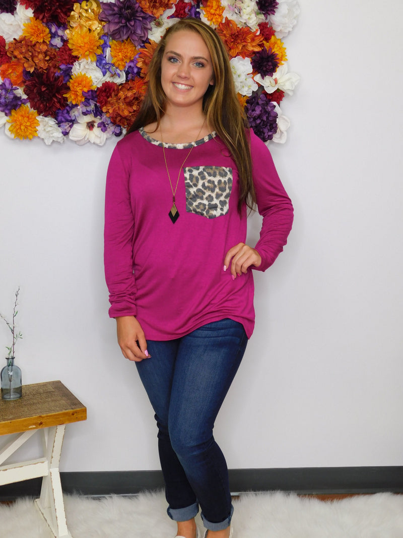 Give Me The Beat Leopard Neck & Pocket Top - Final Sale