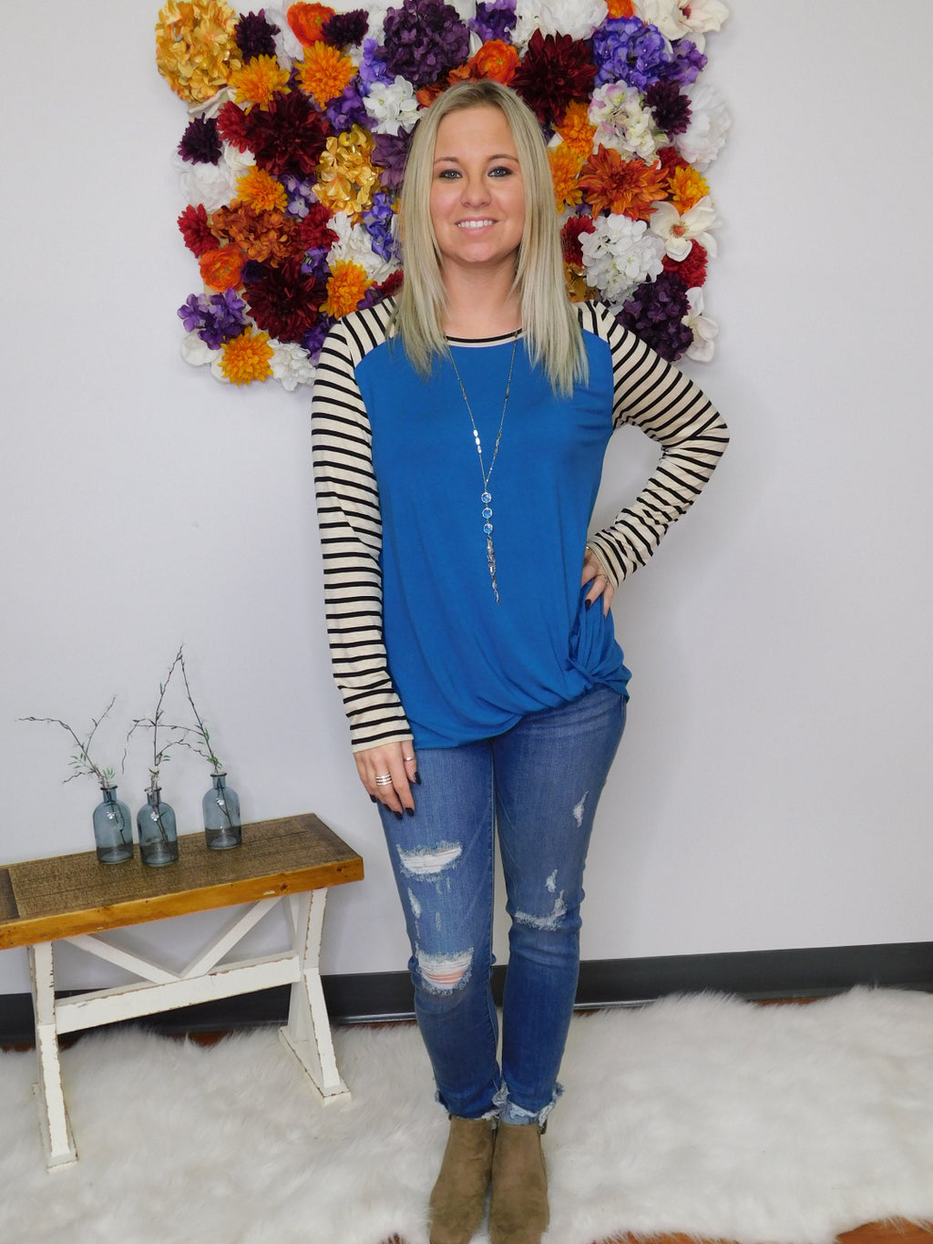 Teal Me More Striped Sleeve Top