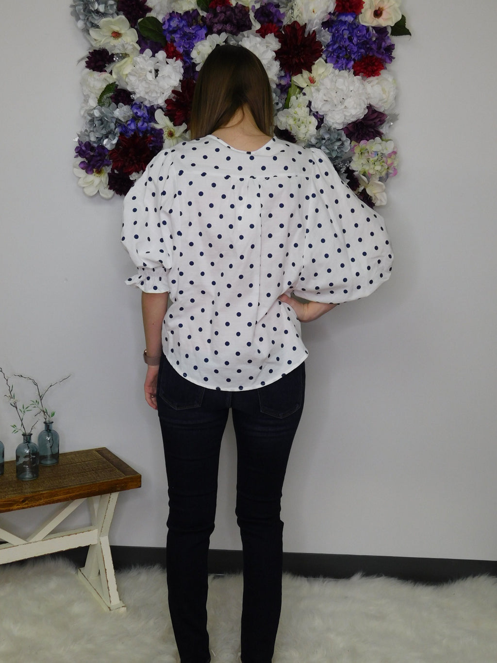 It's A Beautiful Life 3/4 Puff Sleeve Polka Dot Button Front Top