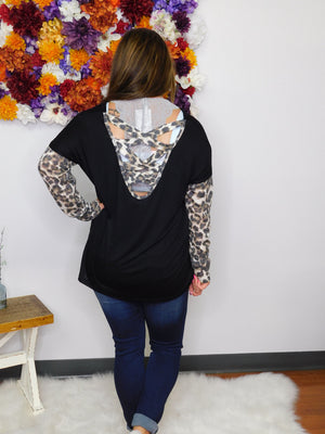 Think Twice Leopard Sleeve & Caged Back Top
