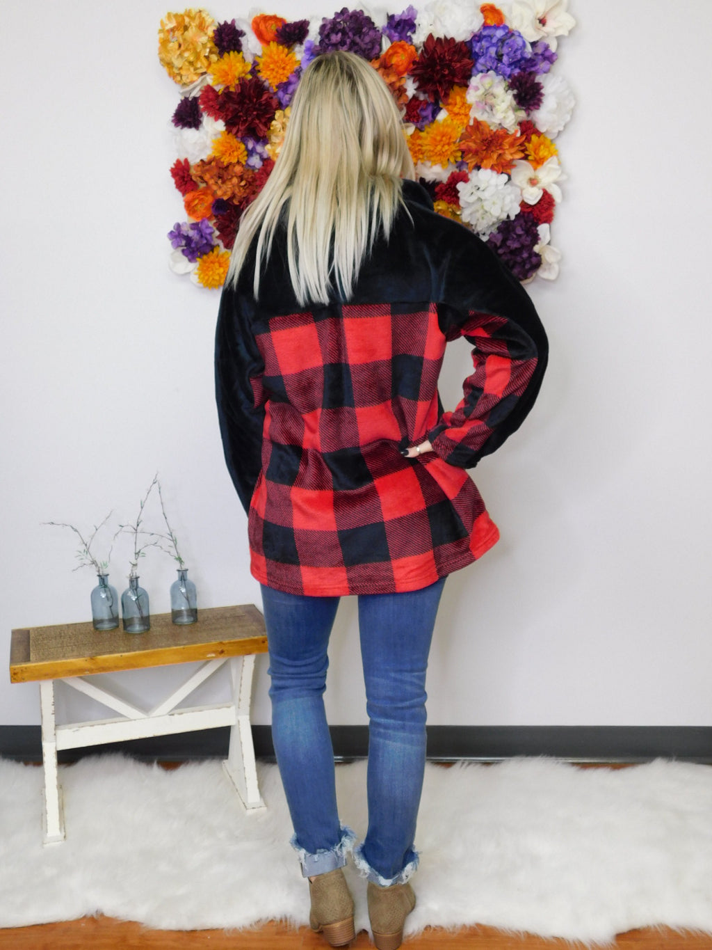 Bring On The Weekend Buffalo Plaid 1/4 Zip Pullover