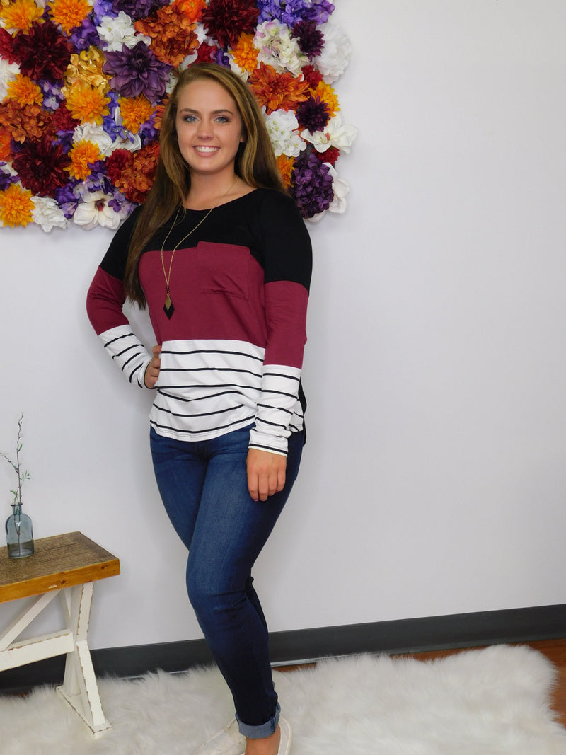 Hold Onto This Feeling Color Block Front Pocket Top