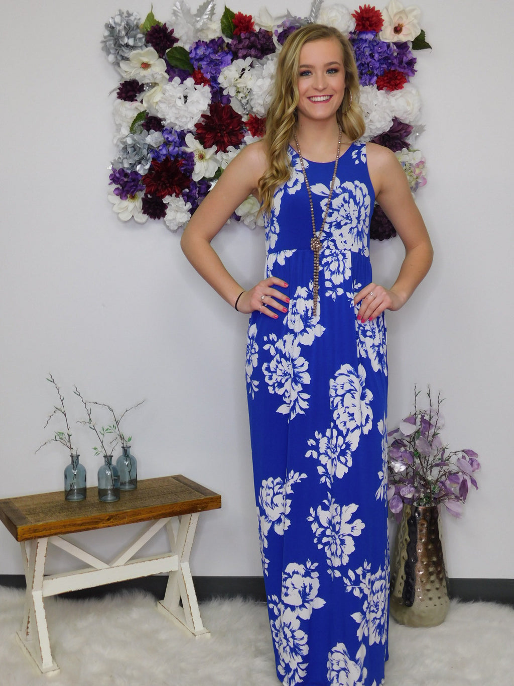 Beach Party Floral Maxi Dress With Pockets