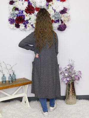 Gonna' Love It Long Cardigan - Charcoal