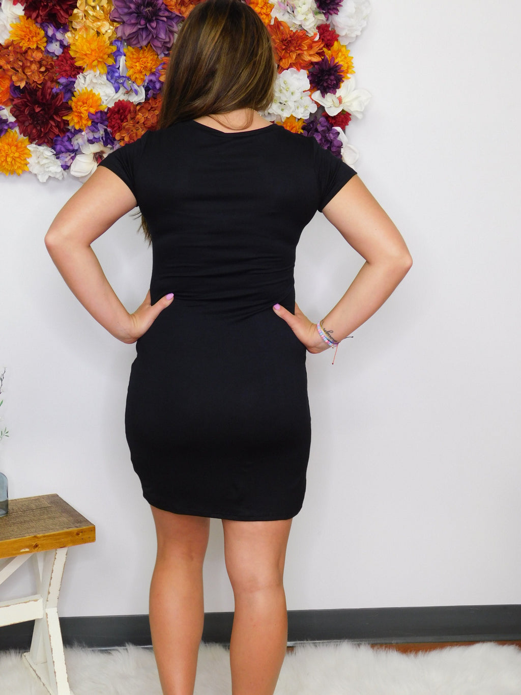 Night Owl Short Sleeve Body Con Dress