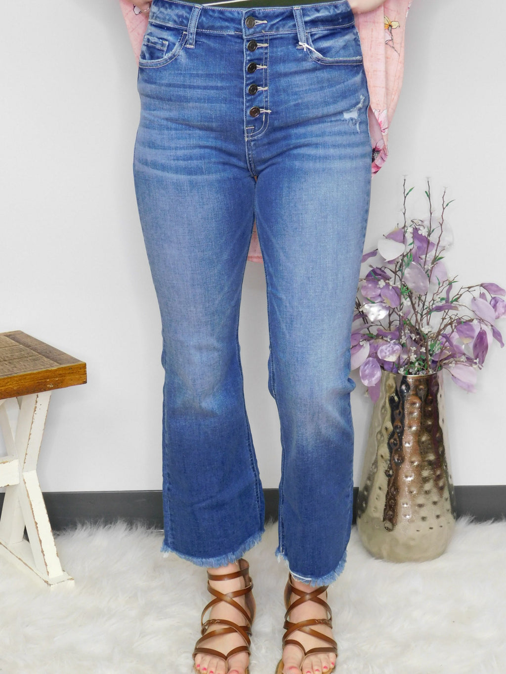 Cello Cropped Fray Hem Flare 5 Button Denim