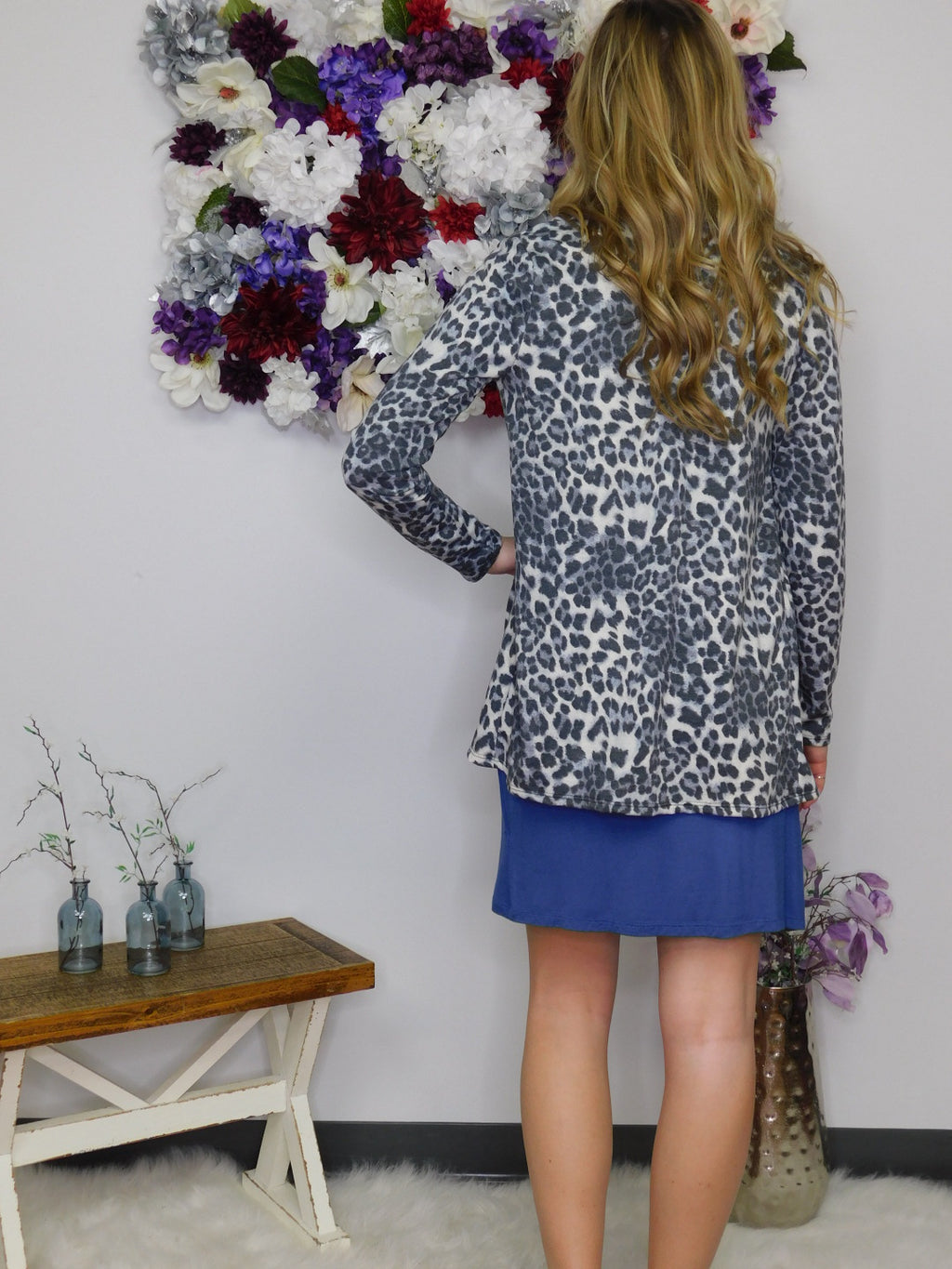 Today's The Day Animal Print French Terry Open Cardigan