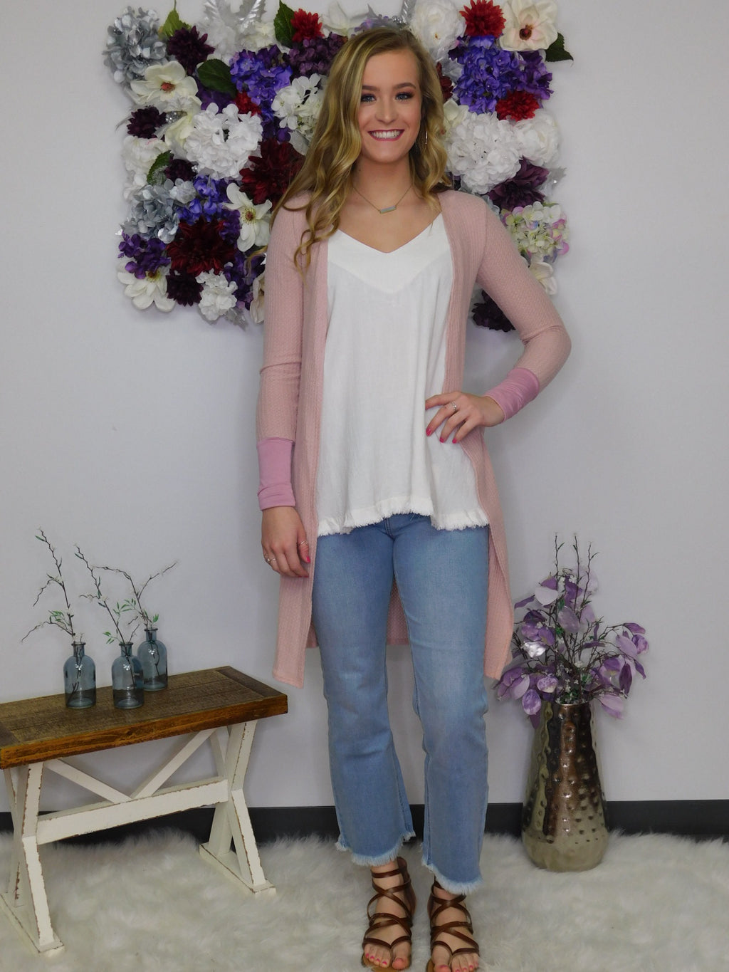 Gonna' Love It Long Cardigan - Rose