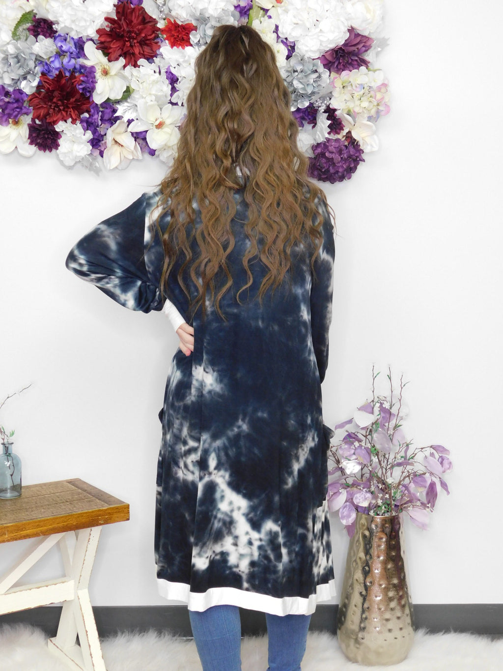 Gonna' Love It Long Cardigan - Black Tie Dye