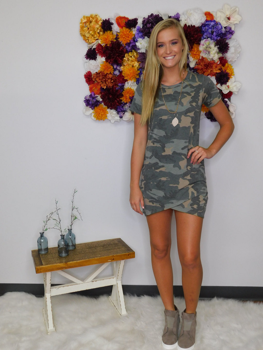 Night Owl Short Sleeve Body Con Dress - Camo