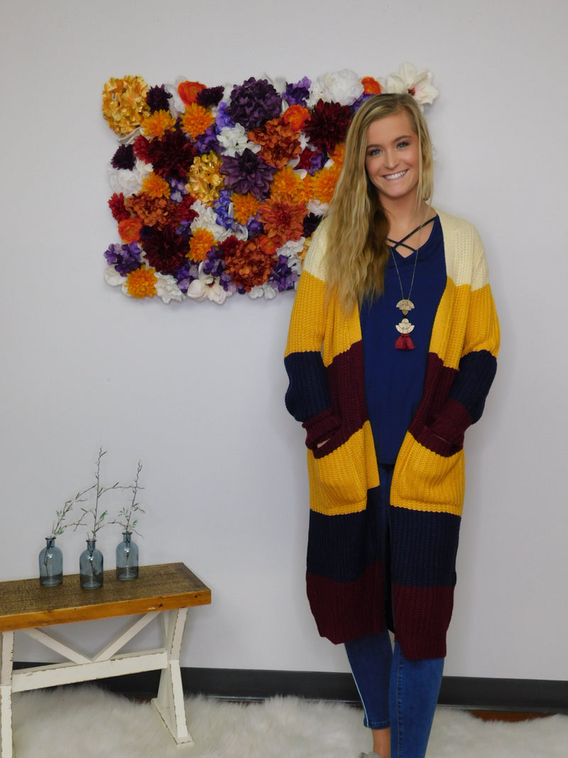 Under The Harvest Moon Color Block Cardigan