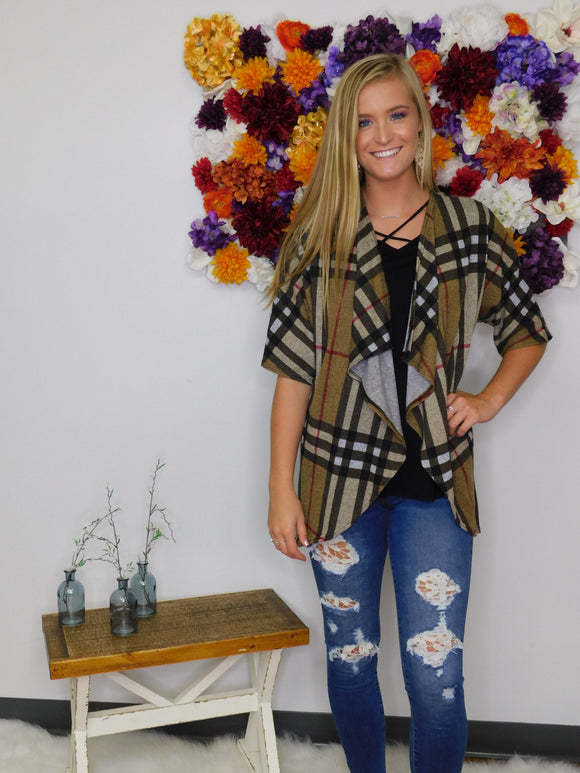 Country Girl's Dream Plaid Short Sleeve Open Cardigan