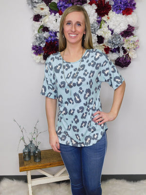 Out Of The Clear Blue Sky Leopard Print Criss Cross Back Top
