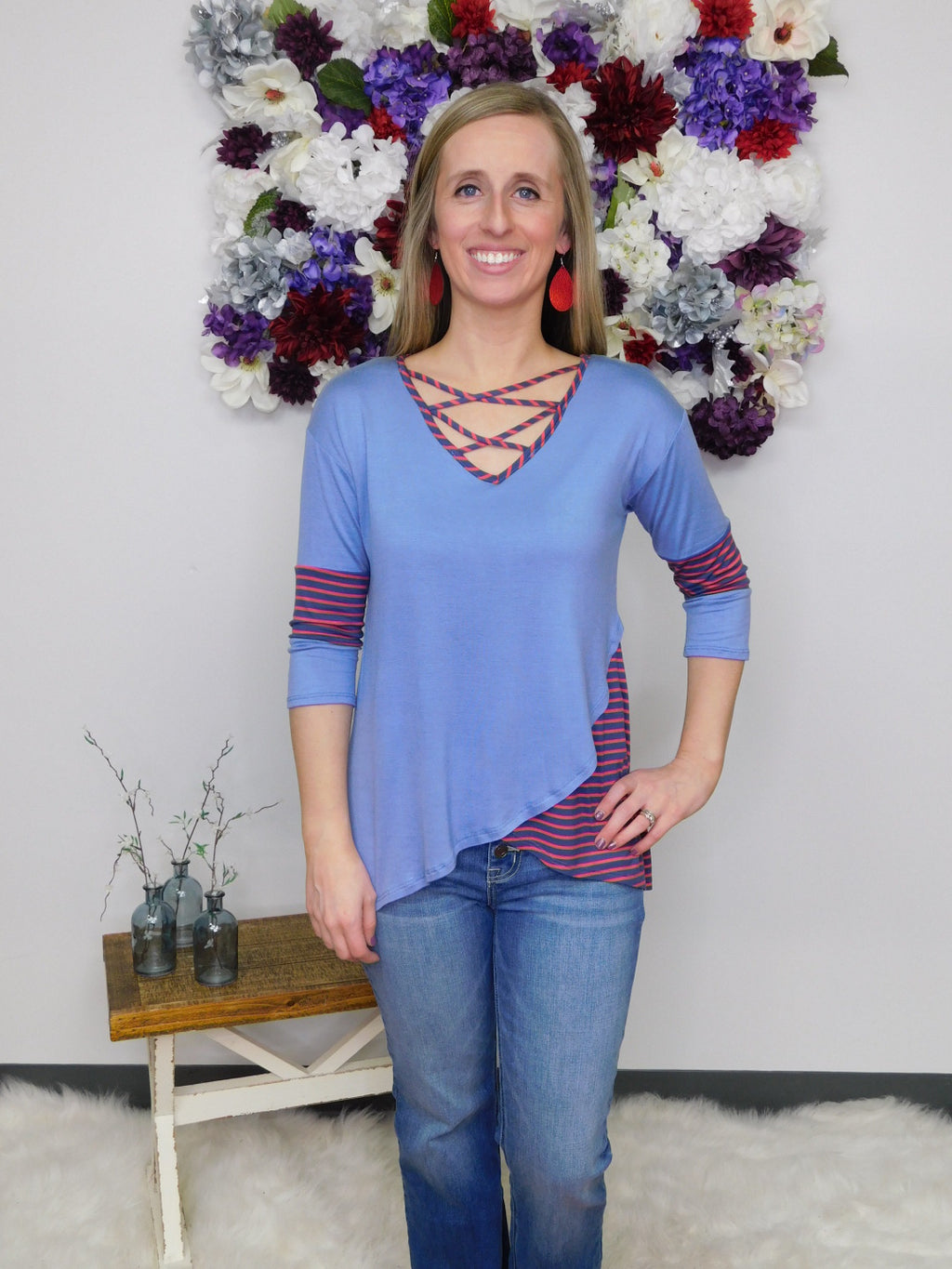 Take The Lead Criss Cross Layered Front Tunic Top