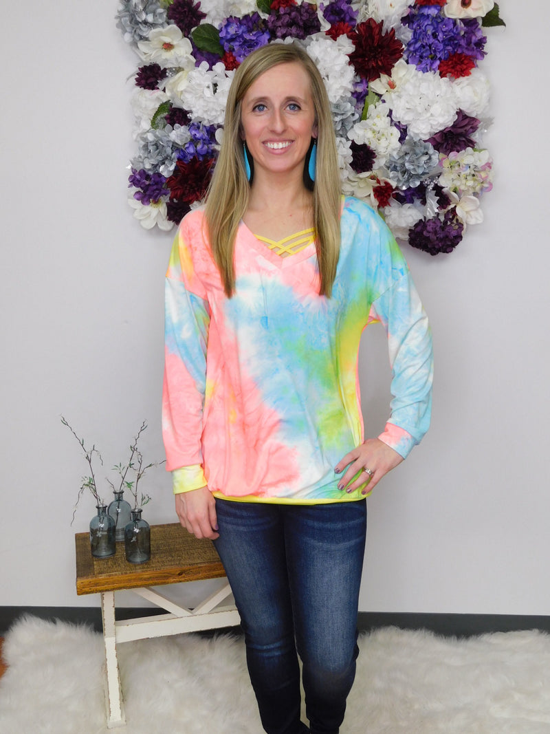 Shine Bright Tie Dye V-Neck Long Sleeve Top