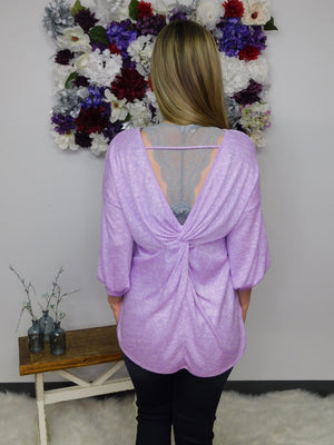Lovely In Lavender Ribbed Long Sleeve Twist Back Top