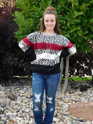 Celebrate Everyday Cozy Leopard Color Accent Sweater