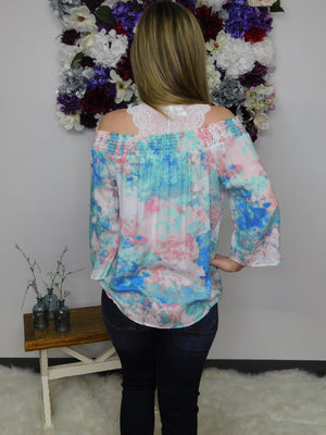 Take Me To Paradise Tie Dye Off Shoulder Top