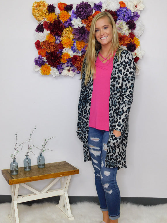 New Attitude Long Leopard Print Cardigan