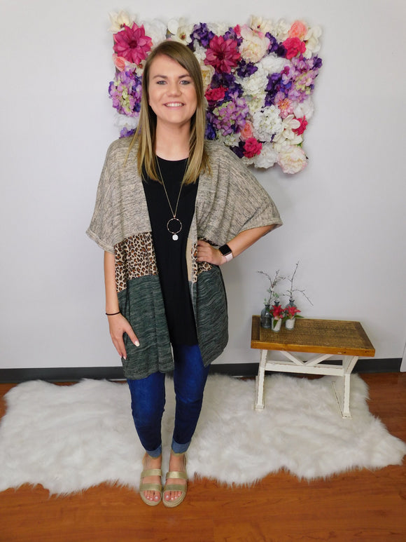 Chase Your Dreams Animal Print Colorblock Open Front Cardigan