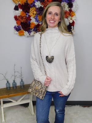 Sweet As Can Be Cable Knit Mock Neck Sweater