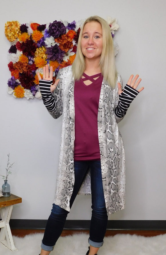 Loving Life Snake Print Long Cardigan