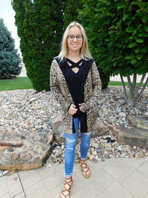 All The Things Cheetah Print Cardigan with Hood