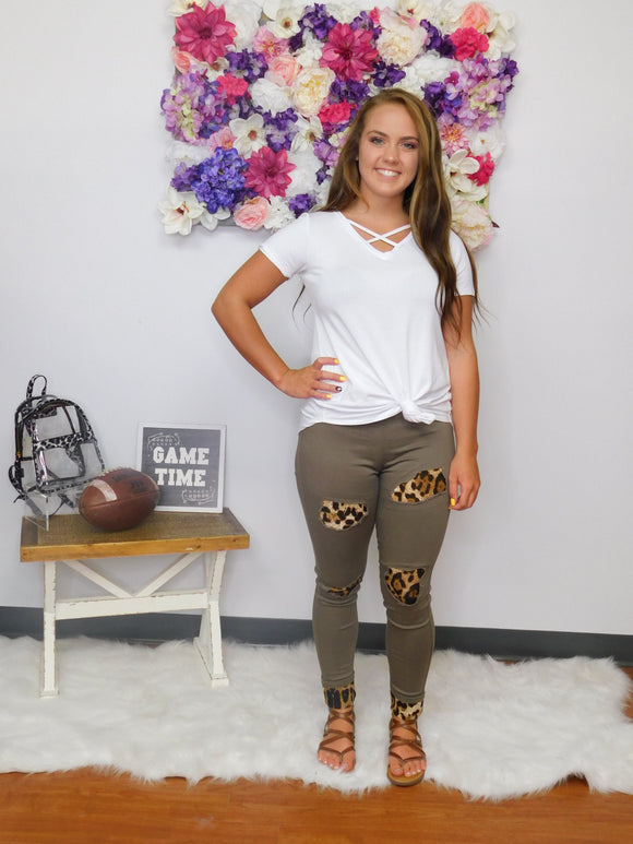 Take It Easy Animal Print Patch Jeggings