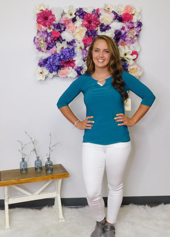 Teal Me More 3/4 Sleeve Top