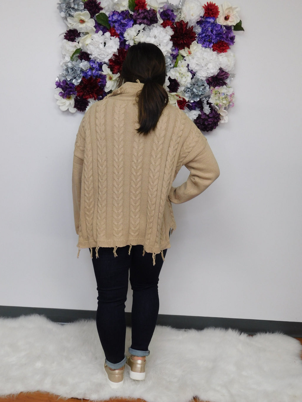Time Of Our Lives Cable Knit Turtle Neck Fray Hem Sweater