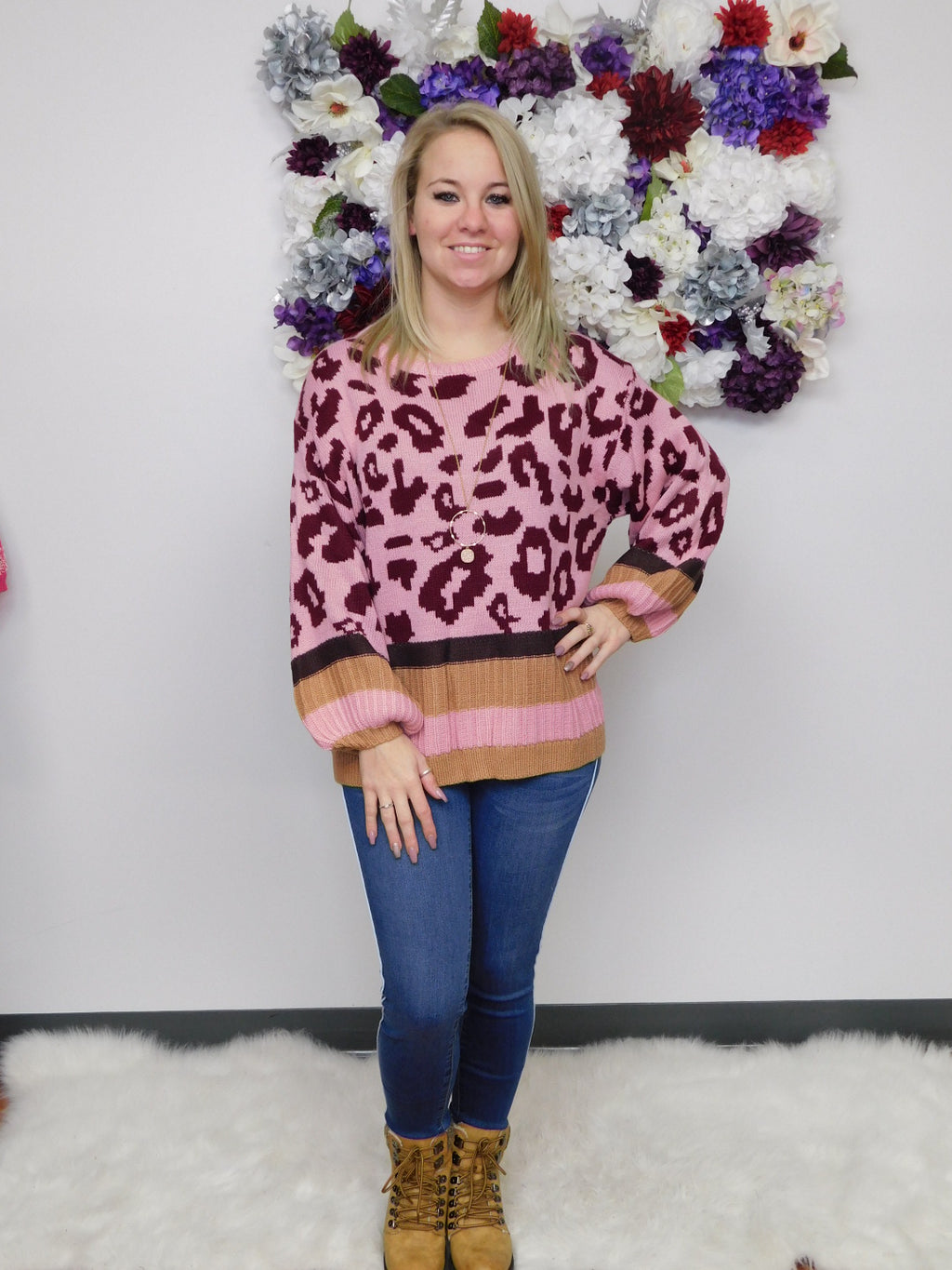 Wild In Love Animal Print Striped Puff Sleeve Sweater