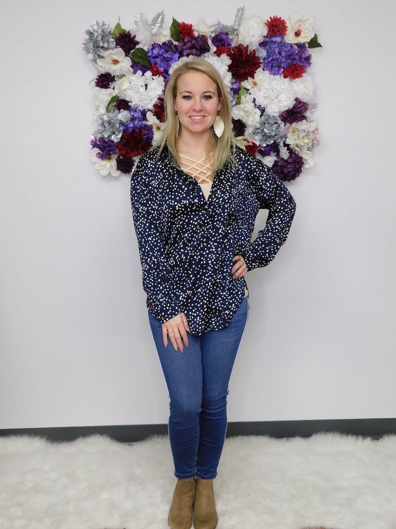On Important Business Polka Dot Button Pocket Front Top - Final Sale