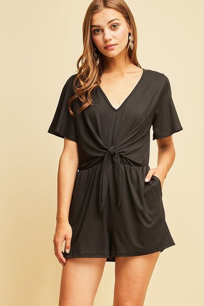 Short Sleeve V-Neck Tie Front Rompe with Pockets