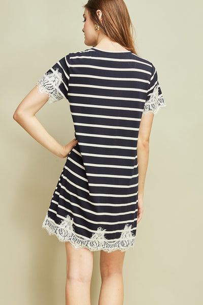 Lace Detailed Striped T-Shirt Dress