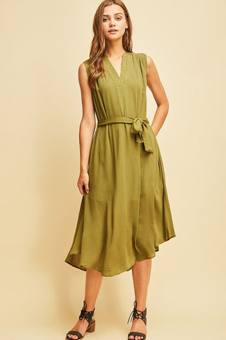 Sleeveless V-Neck Round Hem Tie Waist Dress
