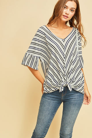 Striped Wide Neck Front Tie Top