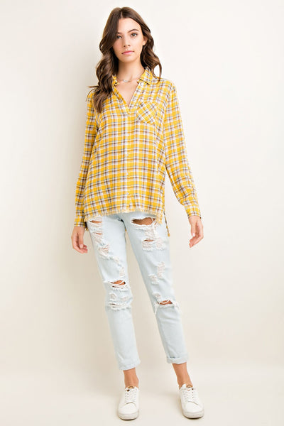 Plaid High Low Button Front Shirt with Fringe Hem