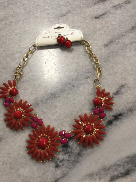 Flower Statement Necklace And Earrings With Gold Chain Link
