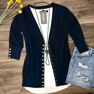 Gotta Have It 3/4 Sleeve Snap Cardigan - Navy