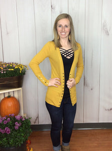 Gotta Have It Snap Detail Cardigan - Mustard