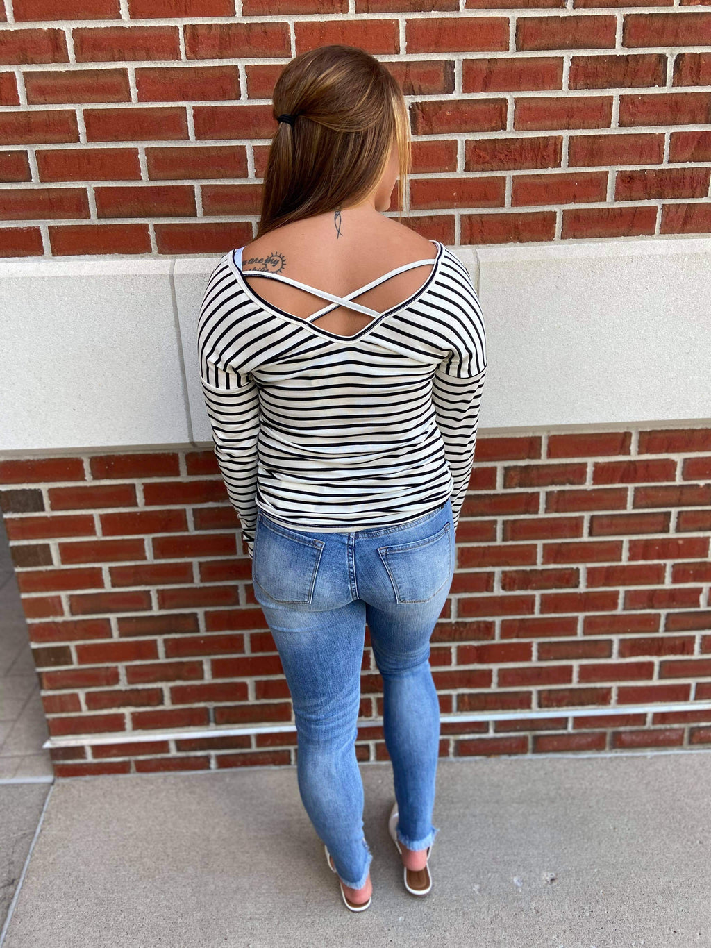 Long Sleeve Stripe Cross Back Top