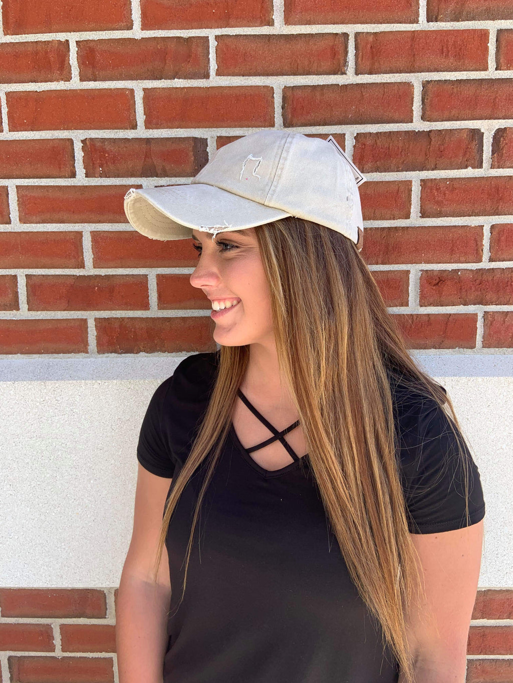 CC Distressed Faded Ladder Back Hat