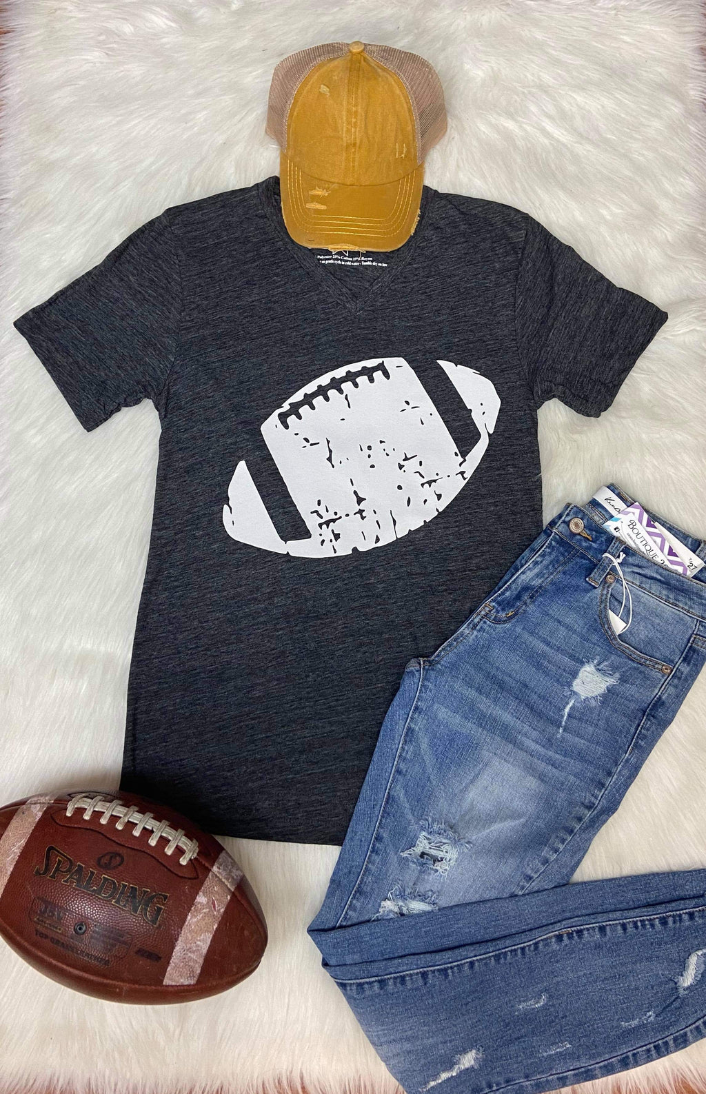 Football V Neck Graphic Tee - Charcoal Tri-Blend