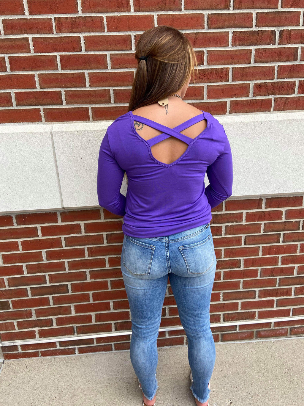 Solid Long Sleeve Criss Cross Back Top - Purple