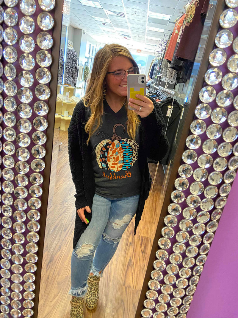 """Blessed"" Graphic Tee With Colorful Patterned Pumpkin"