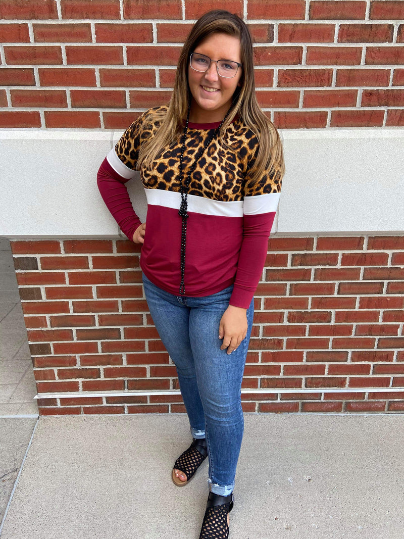 Leopard Color Block Long Sleeve Top