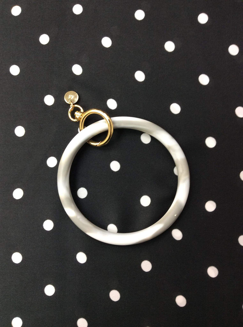 Marble Grey & White Keyring